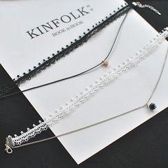 Phooka - Rhinestone Pendant Layered Lace Choker / Bead Pendant Necklace