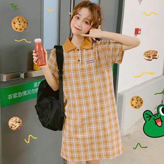 ZIFAN - Short-Sleeve Plaid Mini Polo Dress