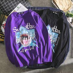 Sundit - Shark Print Long-Sleeve T-Shirt