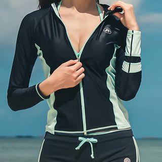 Hipper - Set: Contrast Trim Rashguard + Swim Shorts + Tankini Top