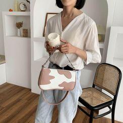 JAMEL - Faux Leather Cow Print Shoulder Bag