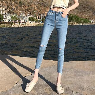 Denimot - 破洞九分窄身牛仔裤