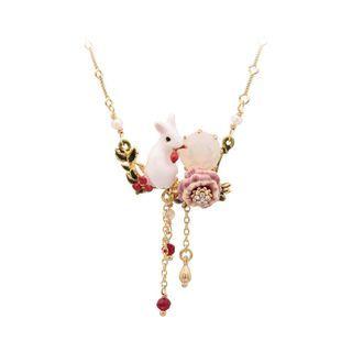 BELEC - 时尚优雅镀金色珐琅花朵锆石兔子流苏项链