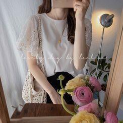 LEELIN - Lace-Sleeve Top