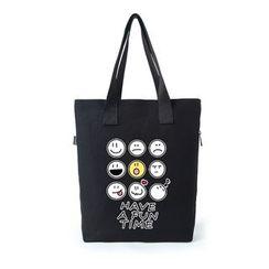 Lozynn - Smiley Print  Canvas Shopper Bag