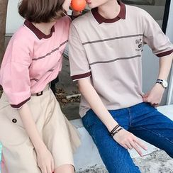 Damaq - 情侣款条纹短袖马球衫