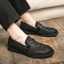 WeWolf(ウィーウルフ) - Faux-Leather Buckled Crocodile Grain Casual Shoes