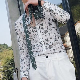 Orizzon - Leaf Print Long-Sleeve Shirt