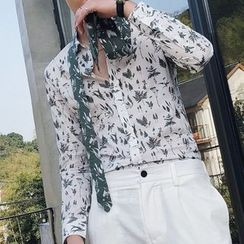 Orizzon(オリッゾン) - Leaf Print Long-Sleeve Shirt