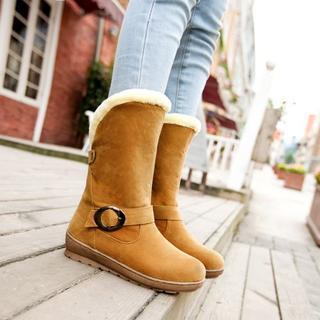 Shoes Galore - Faux Fur Trim Buckled Boots