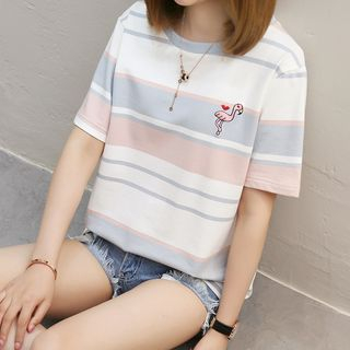 Ukiyo - Flamingo Embroidered Striped Short-Sleeve T-Shirt