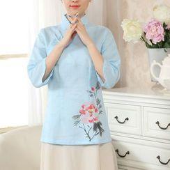 Golden Flowers - Flower Print 3/4-Sleeve Hanfu Top