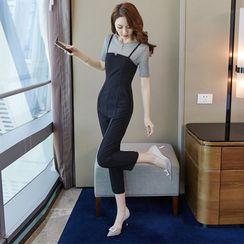 EFO - Set: Short Sleeve Plain T-Shirt + Spaghetti-Strap Plain Jumpsuit