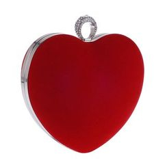 Moonflower - Faux-Suede Heart-Shaped Rhinestone Clutch