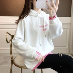 Jewie - Mock Two-Piece Letter Embroidered Hoodie