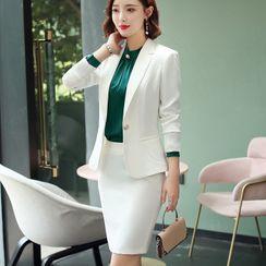 Princess Min - Plain Blazer / Sleeveless Mini Sheath Dress / Long-Sleeve Blouse / Mini Skirt / Dress Pants