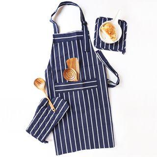 Chrysalis - Striped Apron / Oven Glove / Heat Resistant Pad / Handkerchief