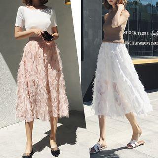 Juuri - Feather Accent Midi A-Line Skirt