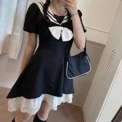 Gray House - Sailor Collar Puff-Sleeve A-Line Dress