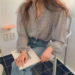 Ningo - Puff-Sleeve Floral Print Blouse