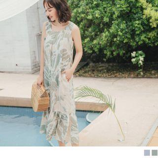 OrangeBear - 渡假風輕柔渲染印花平口寬肩帶魚尾無袖背心洋裝