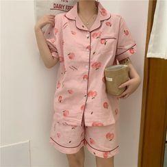 About a Girl - Pajama Set: Fruit Print Short-Sleeve Shirt + Shorts