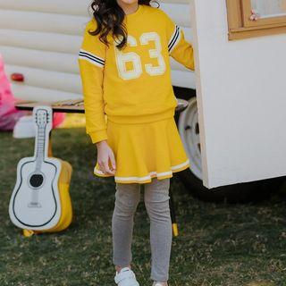 Hobab - Kids Set: Lettering Sweatshirt + Insert Leggings Mini A-Line Skirt