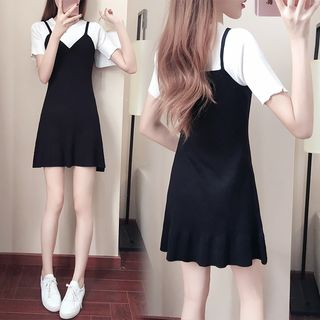 Tiny Times - Mock Two-Piece Short-Sleeve A-Line Mini Dress