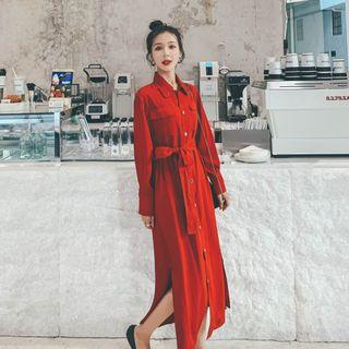 Jinyo - 长袖纯色腰结带连衣裙