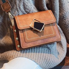 BeiBaoBao - Faux Leather Flap Crossbody Bag