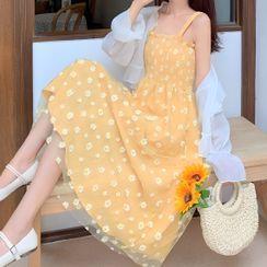 AKANYA - Floral Strappy Midi A-Line Dress / Light Jacket
