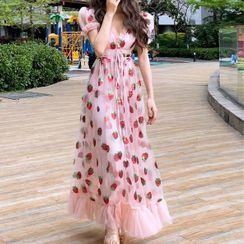 Shinobu - Strawberry Short-Sleeve Midi A-line Dress