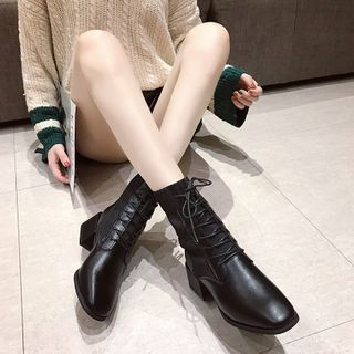 HOGG - Faux Leather Block-Heel Lace Up Ankle Boots