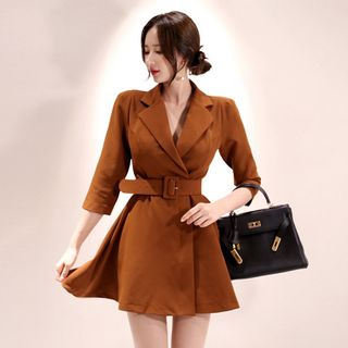 Sienne - Elbow-Sleeve Mini Collared A-Line Dress