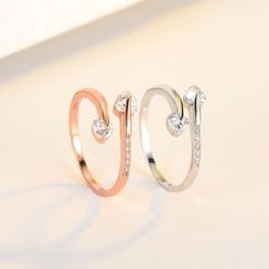 FOON - 925纯银水钻心心开口戒指