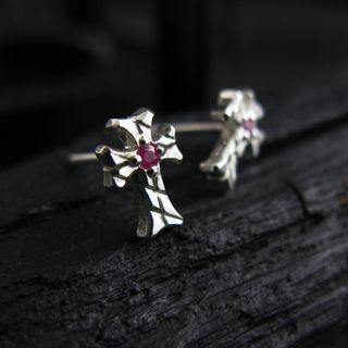 Sterlingworth - Engraved Sterling Silver Cross Ear Stud - Ruby (Single)