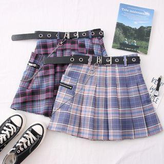 Babique - Plaid High-Waist Pleated Mini Skirt with Belt & Chain