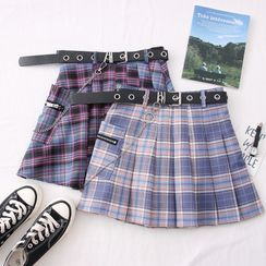 Babique - Plaid High-Waist Pleated Mini Skirt with Belt & Chain