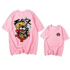 JECKO - Fortune Cat Print Short-Sleeve T-Shirt