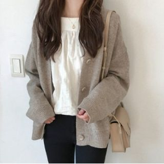 Tiny Times - Button-Up V-Neck Cardigan / Camisole Top