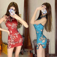 Tidel - Halter-Neck Mandarin Collar Mini Sheath Dress