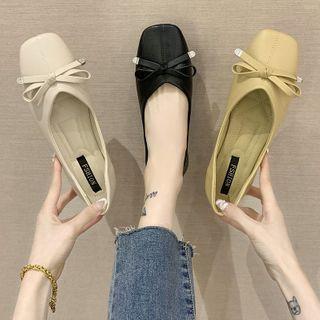 Novice(ノバイス) - Bow Square Toe Faux Leather Flats