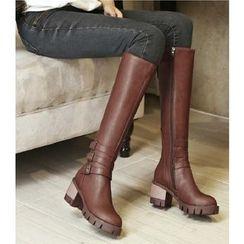 Freesia - Faux Leather Triple Belts Block Heel Tall Boots