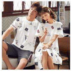 PJ Party - Couple Matching Pajama Set: Short-Sleeve T-Shirt + Shorts