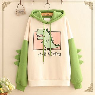 Kawaii Fairyland - Dinosaur Print Fleece-Lined Hoodie