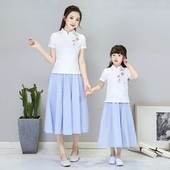 Goldeon - Family Matching Set: Short Sleeve Embroidered Top + A-Line Midi Skirt