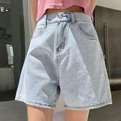 Bloombloom - Wide-Leg Denim Shorts