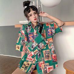 Yunidan - 印花宽松短袖衬衫 - 附斜挎包