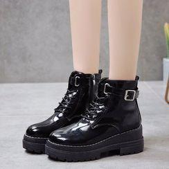 Vindler - Platform Lace-Up Short Boots