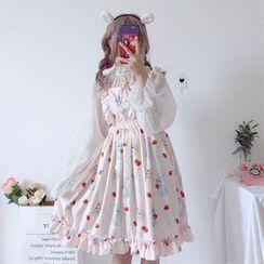 AKANYA - Sleeveless Rabbit Print A-Line Lolita Dress / Sheer Mesh Blouse